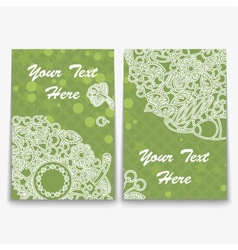 Set of green card with intricate ornament vector