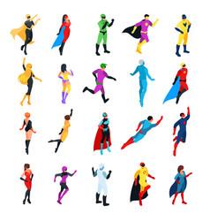 set of isometric superheroes vector image