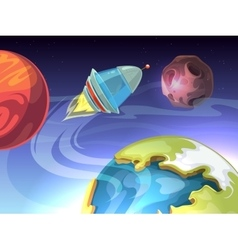 Space cartoon comic background with vector image vector image