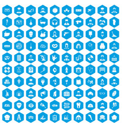 100 different professions icons set blue vector