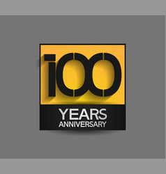 100 years anniversary in square yellow and black vector