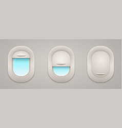airplane windows with open and closed curtains vector image