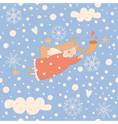 Angel Christmas pattern vector