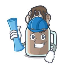 Architect milkshake character cartoon style vector