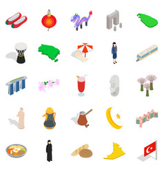 Asian vacation spot icons set isometric style vector
