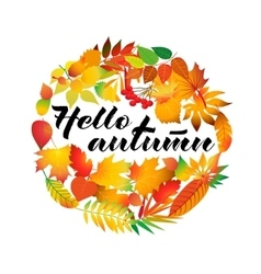 Autumnal round frame Wreath of autumn leaves vector