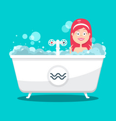 bathing woman in bathtub full of foam flat design vector image