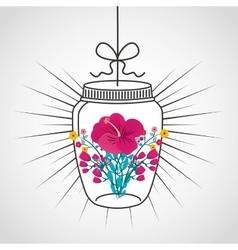 Beautiful mason jar with floral decoration vector