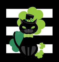 black cat with shamrock vector image