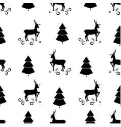 black christmas tree and deer seamless pattern vector image
