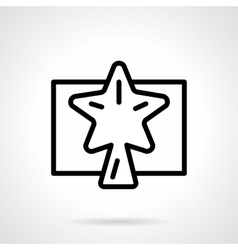 Black simple line Xmas star icon vector