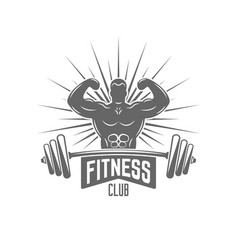 Bodybuilder and barbell isolated emblem vector