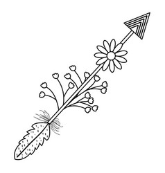 Bohemian arrow with feathers and flowers vector