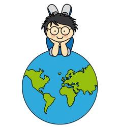Boywith a globe vector image