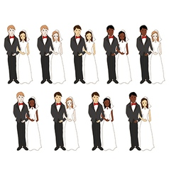 Bride and Groom Different skin color vector