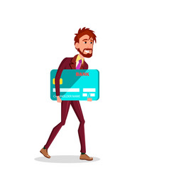 businessman carries big credit card under his arm vector image