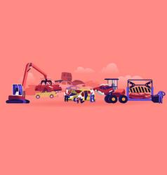 Car dump concept industrial crane claw grabbing vector