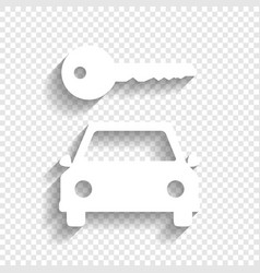 Car key simplistic sign white icon with vector
