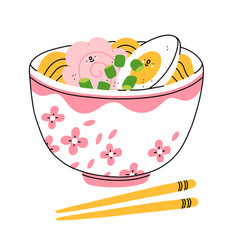 cartoon ramen bowl with shrimp and egg vector image