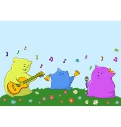 Cartoon toy animals musicians vector
