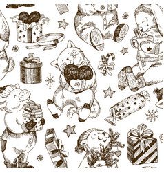 christmas seamless pattern bear rabbit kitten vector image
