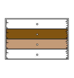 color sections silhouette of wooden board with vector image