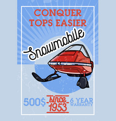 color vintage snowmobile banner vector image