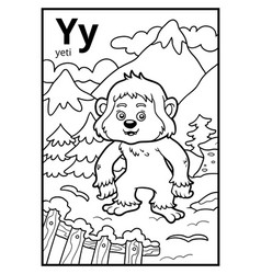 coloring book colorless alphabet letter y yeti vector image