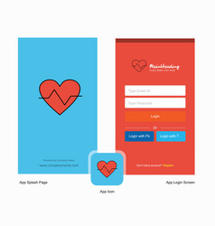 Company heart beat splash screen and login page vector