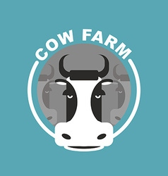 Cow farm logo Head of a cow Emblem sign for farm vector image
