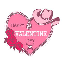 cowboy happy valentine day country farm with vector image