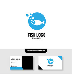 Creative fish logo design and business card vector