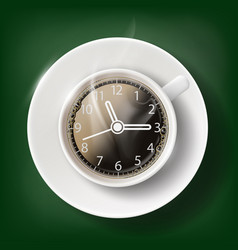 cup of coffee with a clock face vector image