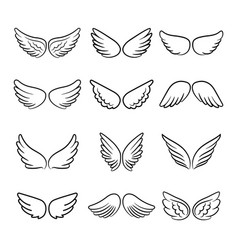 cute angel wings set vector image
