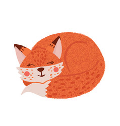 cute hand drawn little fox isolated on white vector image