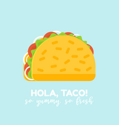 delicious mexican taco food icon or logo vector image