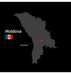Detailed map of Moldova and capital city Chisinau vector