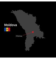 Detailed map of moldova and capital city chisinau vector
