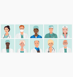 Doctors and nurses avatars set medical staff vector