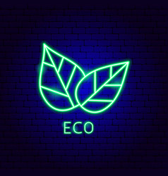 eco leaves neon label vector image