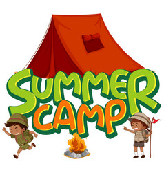 Font design for word summer camp with kids the vector