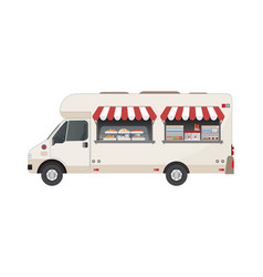 food truck side view with and drink vector image