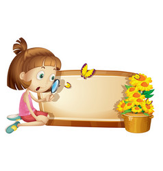 frame template with girl and flower vector image