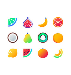 Fruits - set of flat design style icons vector