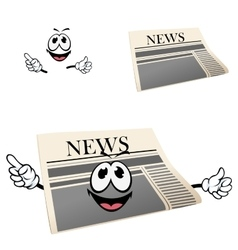 Funny cartoon isolated newspaper character vector image
