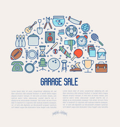 Garage sale or flea market concept in half circle vector