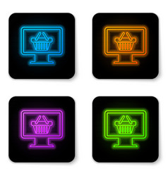 glowing neon computer monitor with shopping vector image
