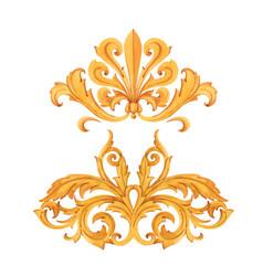 golden baroque rich luxury elements vector image