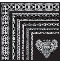Grey set of seamless ornamental floral stripes vector