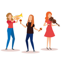 Group of women playing instruments vector